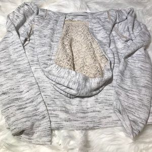 Scrapbook Soft Heather Gray Lace Hoodie